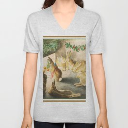 Bunnies roasting apples over an open fire Unisex V-Neck