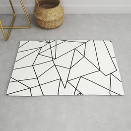 Simple Modern Black and White Geometric Pattern Rug