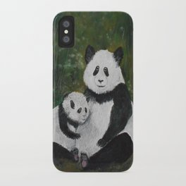 Panda Momma and Baby iPhone Case