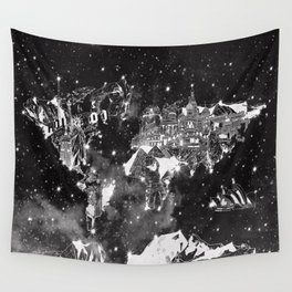 world map galaxy black and white Wall Tapestry