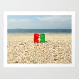 Gummy Bear Beach Kiss Art Print