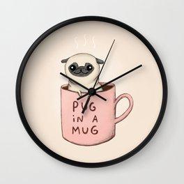 Pug in a Mug Wall Clock