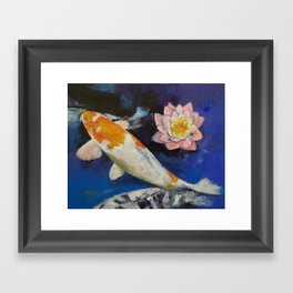 Gin Rin Koi and Water Lily Framed Art Print