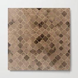 Quatrefoil Moroccan Pattern Brown Pastel Mineral Quartz Metal Print