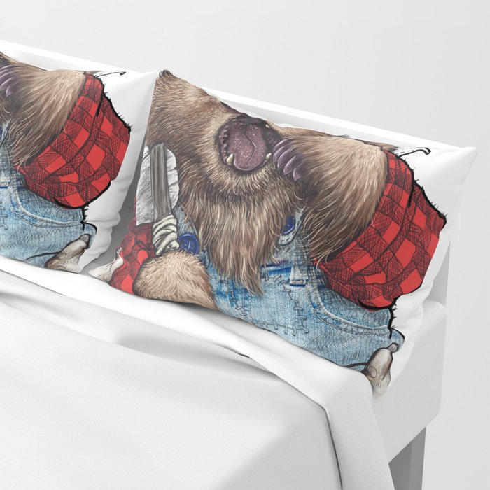Sleepy LumberJack Bear Pillow Sham