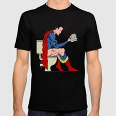 Superhero On Toilet Black Mens Fitted Tee MEDIUM
