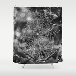 Spiderweb in Black and White Bokeh Nature Background #decor #society6 #buyart Shower Curtain