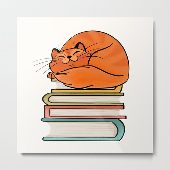 With Books And Cats Life Is Sweet Metal Print