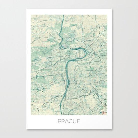 Prague Map Blue Vintage Canvas Print
