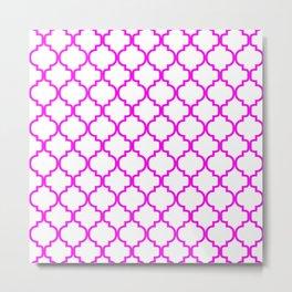 Moroccan Trellis (Magenta & White Pattern) Metal Print