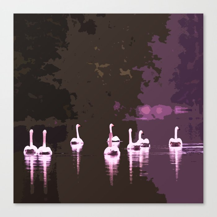 Beautiful reflection in the lake surface - shades of light pink to dark Canvas Print