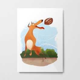 Footballer dog Metal Print