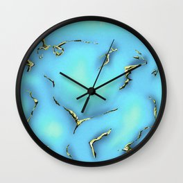 Turquoise with Gold Gemstone Print Wall Clock