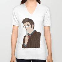 david tennant V-neck T-shirts featuring Doctor Who David Tennant by  Steve Wade (Swade)