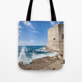 Medieval Walls Of Dubrovnik From Sea Pier Tote Bag