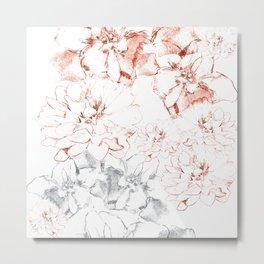 Penciled in Floral Metal Print