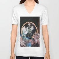 kitty V-neck T-shirts featuring Kitty by John Turck