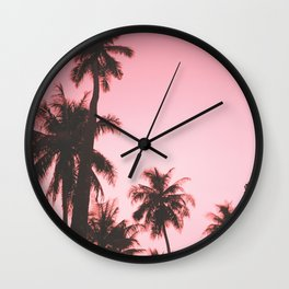Tropical palm trees on beige pink Wall Clock