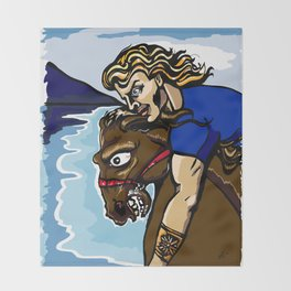 Alexander the Great w/ Bucephalus Horse Throw Blanket