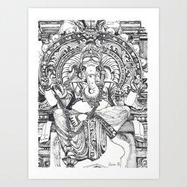 Genish black and white line drawing Art Print