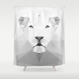 Lion - White Geo Series 2013 Shower Curtain