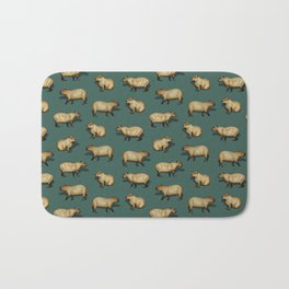 Cute Capybara Pattern - Giant Rodents on Dark Teal Bath Mat