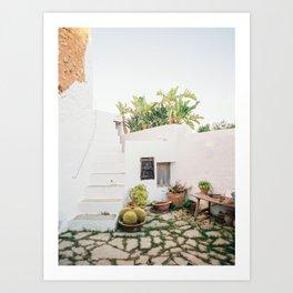 "Travel photography ""Ibiza Backyard"" | Modern wall art Ibiza Spain coast white tones sunset Art Print"
