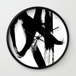 Brushstroke 2 - simple black and white Wall Clock