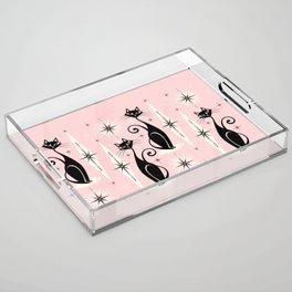 Mid Century Meow Retro Atomic Cats ©studioxtine Acrylic Tray