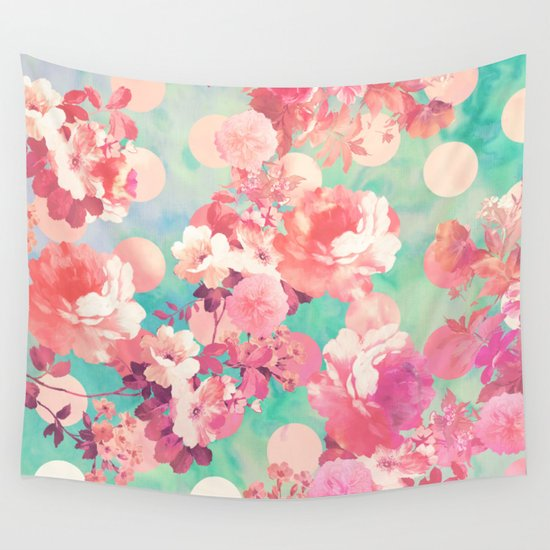 Pink Wall Tapestry romantic pink retro floral pattern teal polka dots wall tapestry