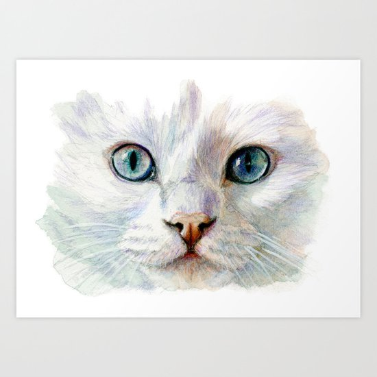 White Cat 844  Art Print