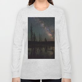 Milky Way Galaxy Above The Pond Long Sleeve T-shirt