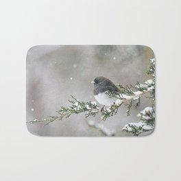 Snowbird on a Snowy Branch (Junco) Bath Mat