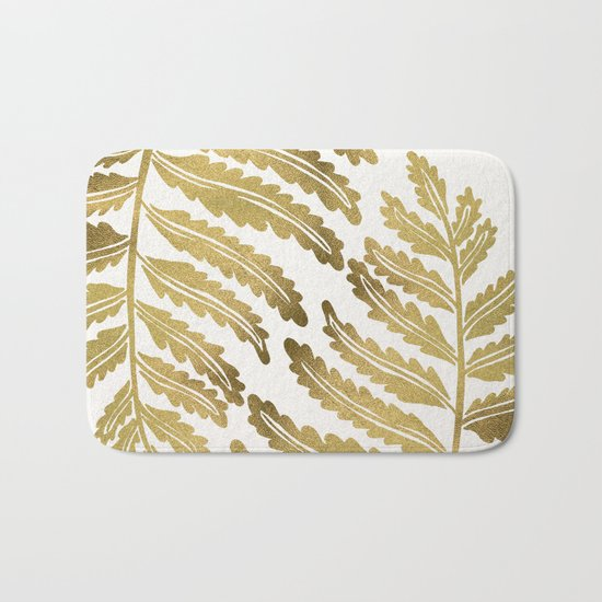 Golden Fern Leaf Bath Mat