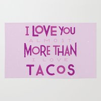taco Area & Throw Rugs featuring Taco Valentine by Josh LaFayette