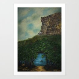 Old Man in the Mountain, Franconia Notch, White Mountains New Hampshire landscape painting Art Print