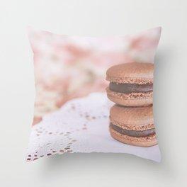 Chocolate Macarons Throw Pillow