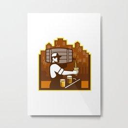 Bartender Pouring Beer Keg Cityscape Retro Metal Print