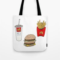 mac Tote Bags featuring Big Mac by Onvit Kwon