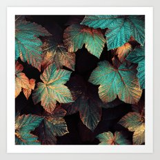 Copper And Teal Leaves Art Print