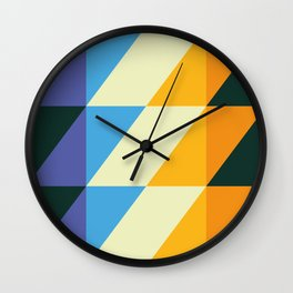 rhomboid echo blue orange Wall Clock