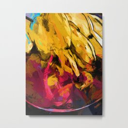 Banana Yellow Pink Splatter Tendril Metal Print