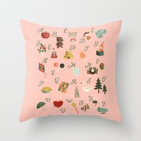 alphabet Throw Pillows featuring Alphabet by The Midnight Rabbit