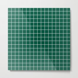 Castleton green - green color - White Lines Grid Pattern Metal Print
