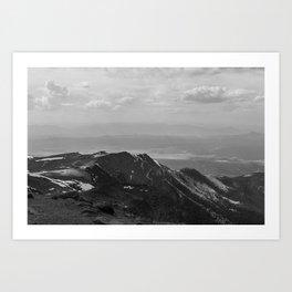 Pikes Peak, Colorado - Black and White Art Print
