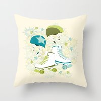 roller derby Throw Pillows featuring Roller Derby Rumble by Wild Notions