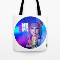 artrave Tote Bags featuring artRAVE ARTPOP ball collection rainbow dreadlocks by Sergiomonster