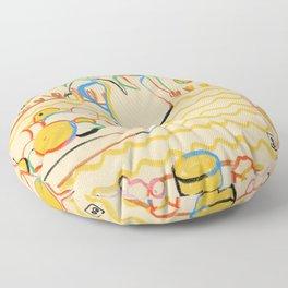 YELLOW TULIPS, WINE AND CHEESE Floor Pillow