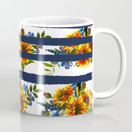 Watercolor navy blue orange yellow sunflower stripes Coffee Mug