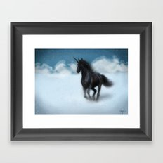 black unicorn Framed Art Print